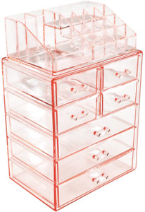 Cosmetic Makeup and Jewelry Storage Case Display Spacious Design for Bathroom Dr