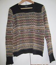 Theory Sweater Silk Linen Size M Black Pattern Retail $290
