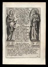 santino incisione 1600 SS.ANASTASIA V.M. DI ROMA E CATERINA V.M. DI ALESSANDRIA