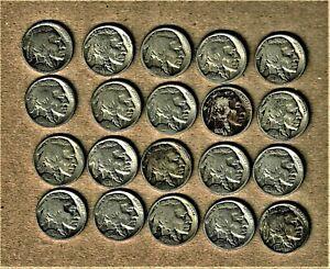 1918-s - 1936 Indian Head/ Buffalo nickel lot 20 coins