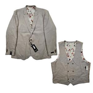 River Island Men's Beige Linen Blend Suit Jacket & Waistcoat Set Size 52 L