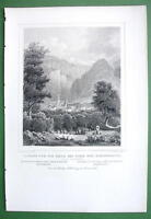 SWITZERLAND Tusis & Hohenrealta at Via Mala - 1853 Antique Print