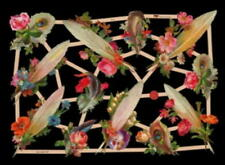 4 SHEETS victorian style floral feather DIE CUTS VICTORIAN SCRAP BOOK PAPERS
