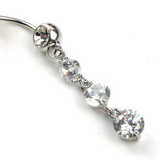 Crystal Rhinestone Belly Button Ring Dangle Charm Vertical Drop USA FAST SHIP!