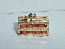 VINTAGE 14K YELLOW GOLD 3D CRATE OF FLORIDA ORANGES CHARM
