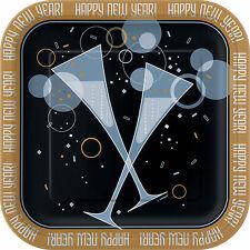 8 X Año Nuevo Platos de Papel para Fiesta Cena Burbujeante Año 22.9cm Tamaño