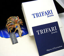 Trifari TM 90s Reproduction Firebird Peacock Brooch Mint With Tags Box Insert