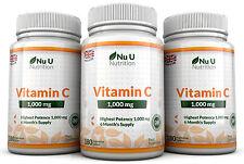 Vitamina C 1000mg nu u 3 botellas de alta resistencia 540 comprimidos 100% Garantía