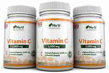 Vitamine C 1000mg Nu U 3 bouteilles Grande Force 540 Comprimés 100% Garantie