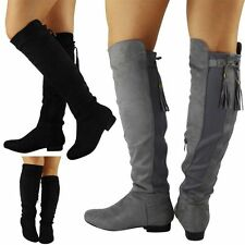 Women's Faux Suede Lace Up Knee High Boots