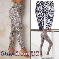 Yoga Gym Fitness Leopard Print Skinny Leggings Scrunch Workout Pants Trousers