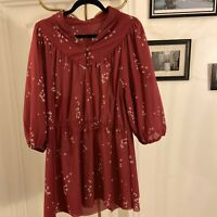 Vintage 70s Burgundy Dress Long Sleeve A Line Hippie Festival Peter Pan Collar