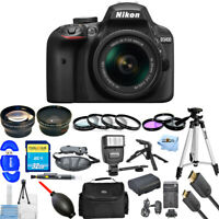 Nikon D3400 DSLR Camera with 18-55mm (Black) 3 Lens Kit + Battery + 32GB Bundle