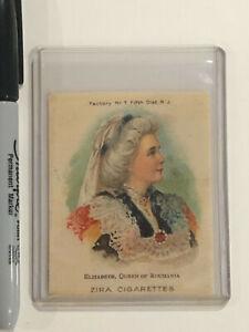 ZIRA SILK CIGARETTE  TOBACCO CARD ELIZABETH QUEEN OF ROUMANIA