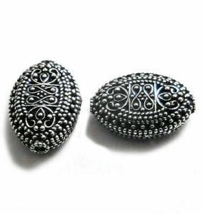 20 PCS 23X16X9MM BALI FILIGREE BEAD ANTIQUE STERLING SILVER PLATED 738 ONO-102