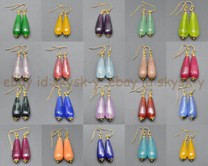 11x27mm Faceted Mixed Gemstone Teardrop Beads Dangle Gold-plated Hook Earrings