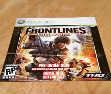 Frontlines Fuel Of War DVD Demo Disc XB360 - NEW and RARE