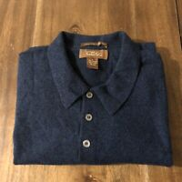 Tasso Elba 100% fine Cashmere Blue Polo Collar Sweater Men's Large K