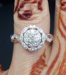 Deal!1.00CT Natural Round Solitaire Diamond Engagement Halo ladies Ring 14K Gold
