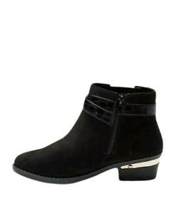 Black Ankle Boots Wide Fit Low Block Heel Womens Chelsea Zip Size 7 to 7.5 NEW