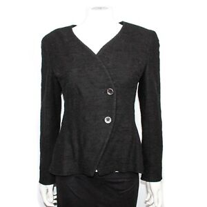 Chanel - 2000 Jacket CC Button Blazer - Navy Black Tweed Wrap 00T - US 8 - 40