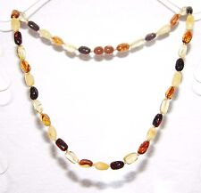 Genuine Baltic amber adult necklace, multicolor olive beads 45 cm /17.72 inch