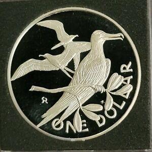 BRITISH VIRGIN ISLANDS 1975  - SILVER DOLLAR - FRIGATE BIRD - ONLY 2,351 MINTED