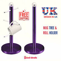 6 Cup Mug Tree & Kitchen Towel Paper Roll Holder Pole Stainless Steel Purple