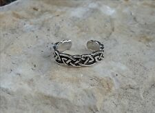 Solid Sterling Silver Oxidized Celtic Toe Ring