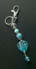Purse Charm Blue Heart Jewelry Glass Bead Silver Plated Ring Crystal Key Chain