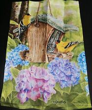 "Decorative Garden Flag 12 1/2' x 18"" Birdfeeder With Colorful Flowers And Birds"