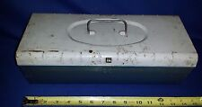 """Vintage 1960's Blue 14"""" long Metal Tool - Craft - fishing Tackle Box with Handle"""
