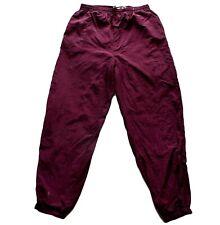 Men's Vintage 80's Burgundy Shell Suit / Tracksuit Bottoms 34 W / 31 L