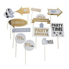 Wedding Photo Booth Props Accessories Kit Party Signs - Set of 12