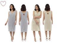 Ladies Linen Dress Girls Striped Shift V-neck Summer Holiday