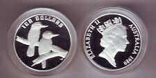 1989 $10 Kookaburra ex Bird Series Set Silver Proof Coin Australia