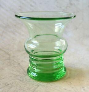 *Unusual Vintage 1930s Green Stuart Crystal Vase: 8cm Tall