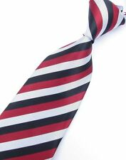 GIFTS FOR MEN Classic Mens Fine Striped Stripe Silk Necktie Tie Red Black White