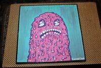 Original Outsider Art Painting Purple Creature Signed Tim Robot 2008