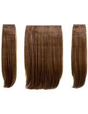 Extensions cheveux synthétiques bruns raides pour femme
