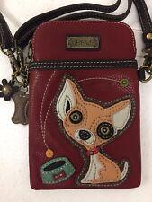 Chala Chihuahua Cell Phone Burgundy Crossbody Bag Small Convertible Dog Purse