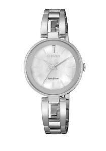 Citizen Eco-Drive EM0631-83D Ladies Solar Silver Watch NEW RRP $399.00