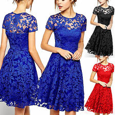 Plus Size Women Lace Floral Prom Evening Party Bridesmaid Wedding Mini Dress