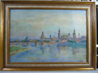 """Aquarell von Johannes Paul Ufer. Ansicht Dresden. """" Canaletto Ansicht """". 49x33cm"""