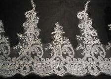 Ivory Sequins Eyelash Bridal Wedding lace trim/ dress lace trim Sold by Per Yard