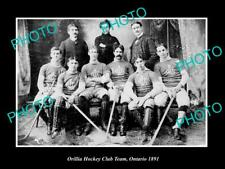 Old 6 X 4 Historic Photo Of Orillia Ontario, The Hockey Club Team c1891