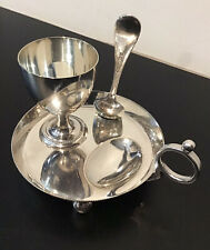 More details for vintage, mappin & webb, silver plated, chamber stick, egg cup & spoon set
