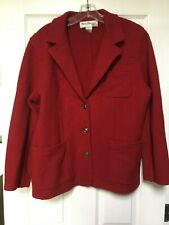 Vintage Norm Thompson Womens Petite Medium Blazer 100% Wool Red