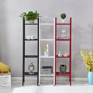 4 Tier Metal Ladder Display Bookshelf Storage Unit Bookcase Kitchen Rack Shelf