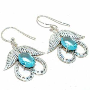 """Blue Topaz Gemstone 925 Sterling Silver Jewelry Earring 2.0"""" S2699"""